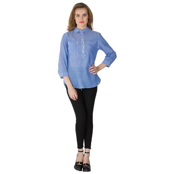 Blue Cotton Short Kurtis