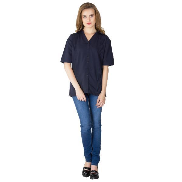 Blue Pleated Shirts