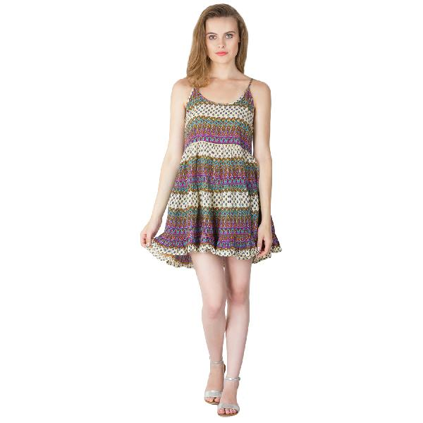 Multi Printed Strappy One Piece Dresses
