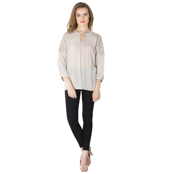 Solid Peach 3/4th Sleeves Tops