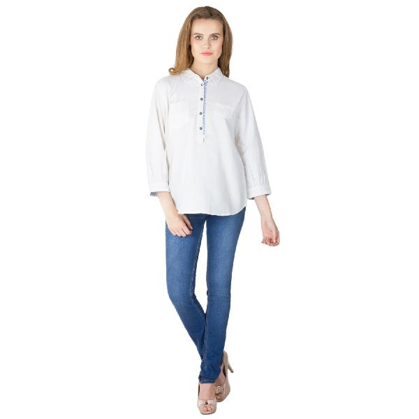 White Cotton Short Kurtis