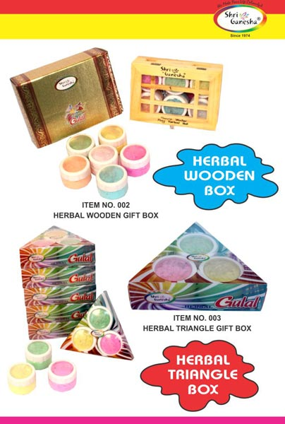Wooden Herbal Gulal Gift Box