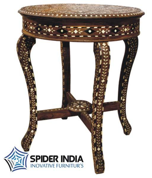 Bone Inlay Round Teak Wood Table. Teak Wood Bone Inlay Table Teak Wood Bone Inlay Table Exporter