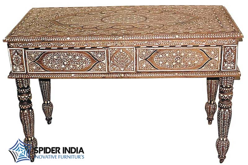 Bone Inlay Console Teak Wood Table