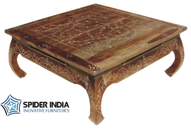 Indian Bone Inlay Coffee Teak Wood Table. Teak Wood Bone Inlay Table Teak Wood Bone Inlay Table Exporter