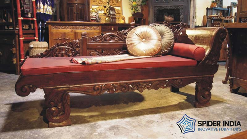 Antique wooden carved sofa carved indian bench manufacturers for Carved wooden chaise