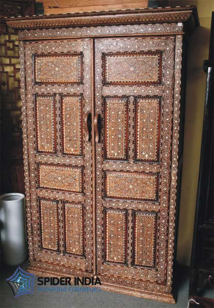 Teak Wood Bone Inlay Almirah