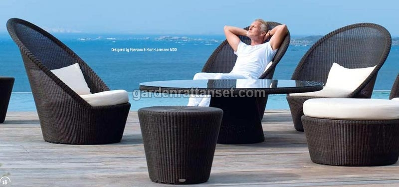 High Back Wicker Rocking Outdoor Chair