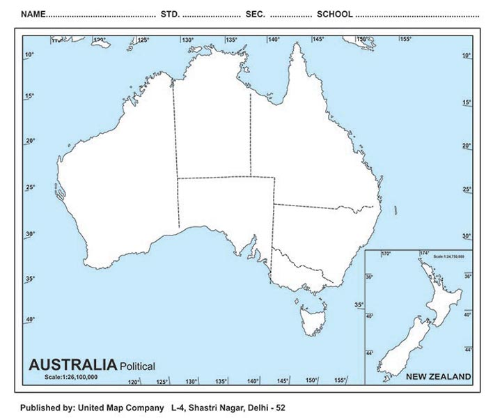 Outline MapsPhysical Outline MapsPolitical Outline Maps Supplier - Political map of australia