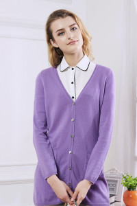 100% Cashmere Deep V Neck Ladies Pullover