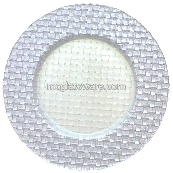 Braid Silver Glass Charger Plates