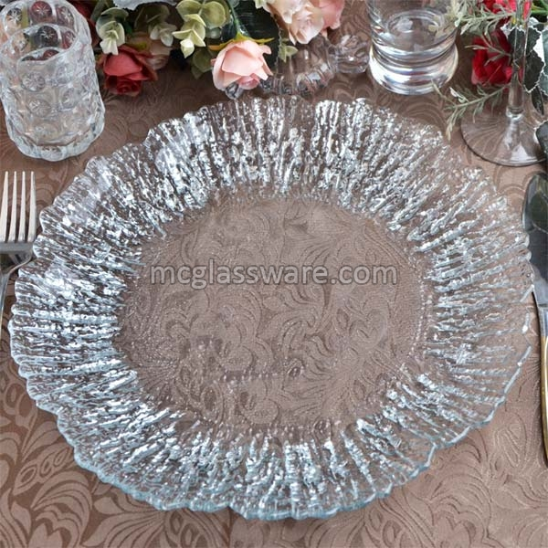 Daniz Silver Flower Clear Glass Charger Plates