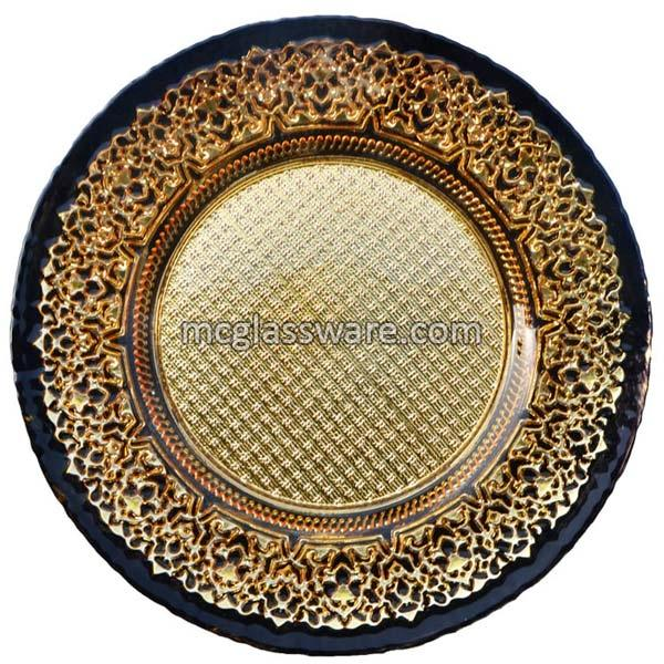 Gold Black Glass Charger Plates