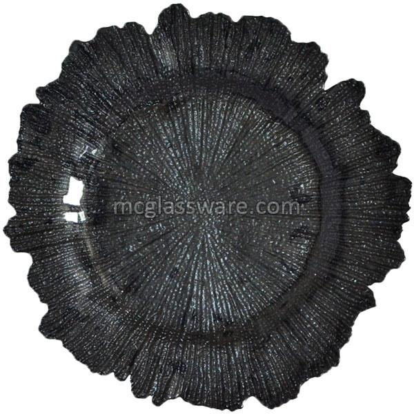 Black Reed Glass Charger Plate