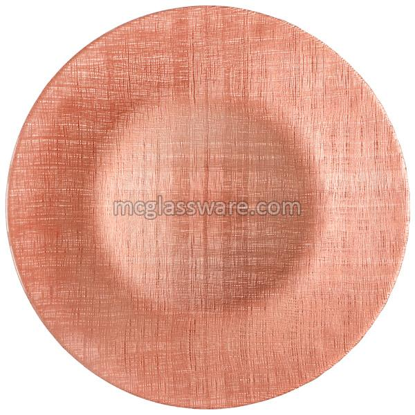 Pink Fabric Design Glass Charger Plates