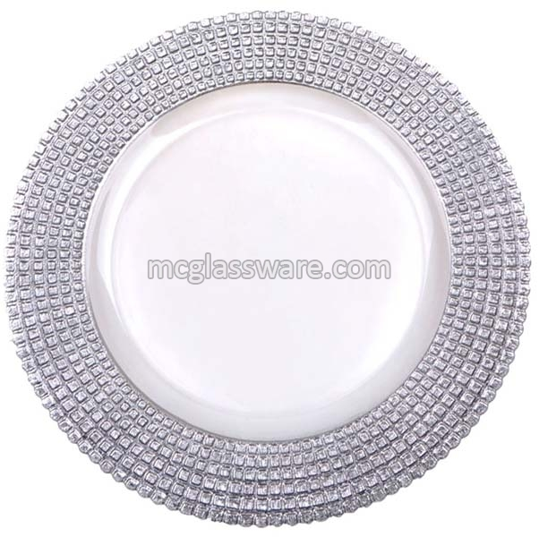 Silver Edge Clear Glass Charger Plates