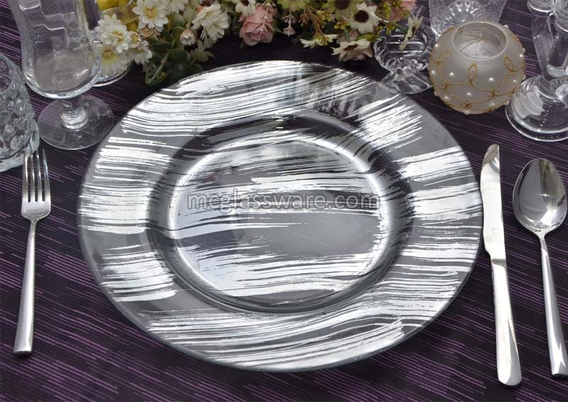 Silver Glass Charger Plates