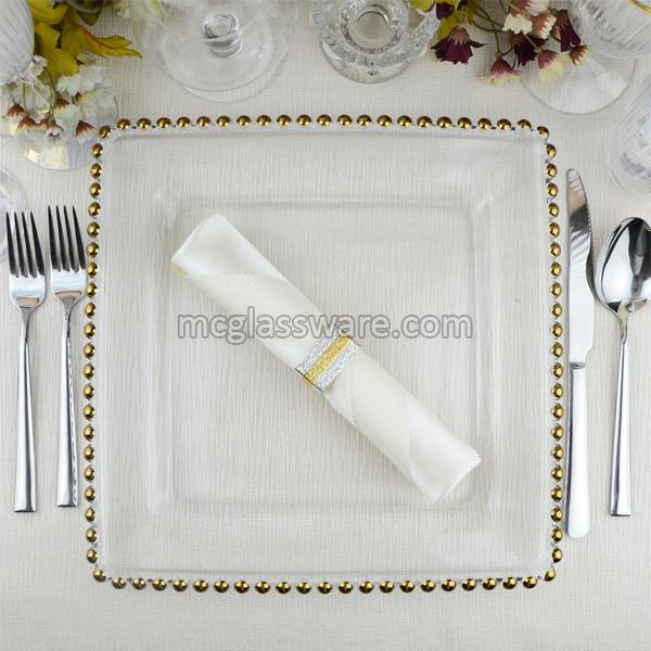 Square Gold Beaded Glass Charger Plates