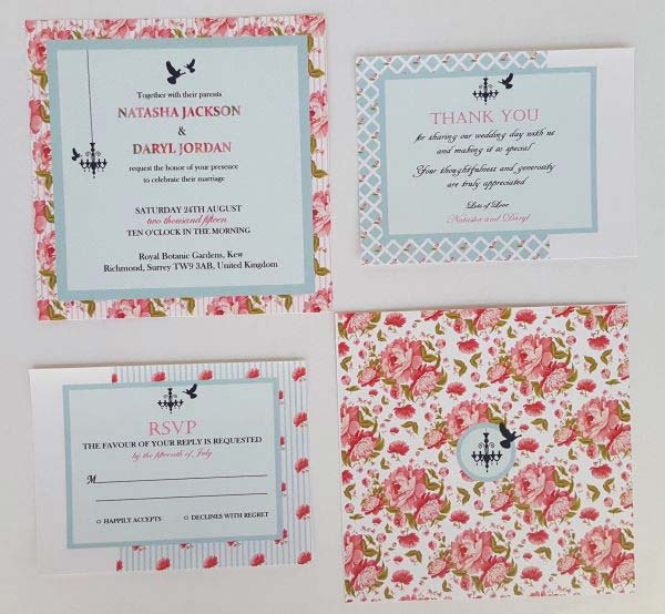 English Garden Wedding Invitation Set 01
