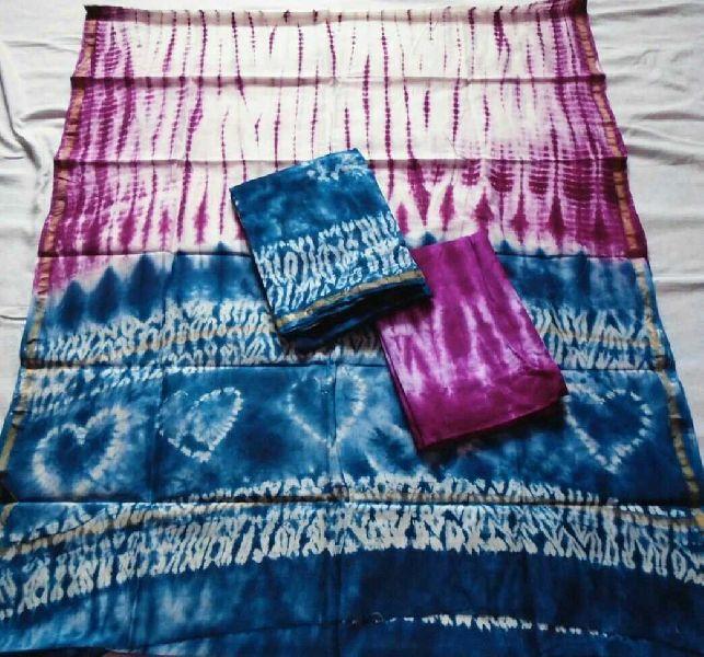 Unstitched Chanderi Silk Shibori Print Suit 01