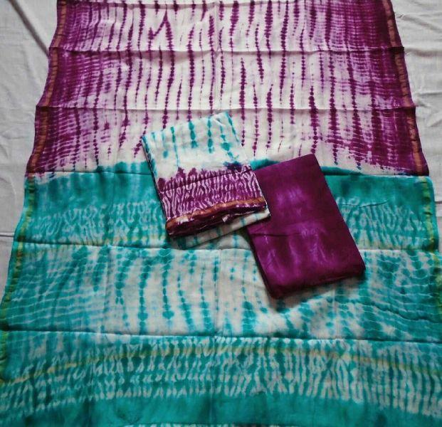 Unstitched Chanderi Silk Shibori Print Suit 03