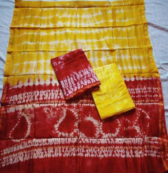 Unstitched Chanderi Silk Shibori Print Suit 04