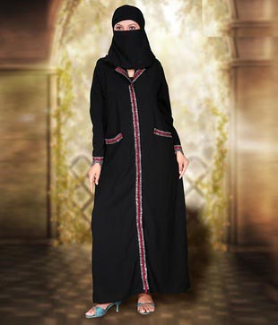 Ustaad Lycra Black Burqa with Stone work: Amazon.in: Clothing ...