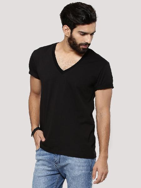 Mens Black V Neck T-shirt