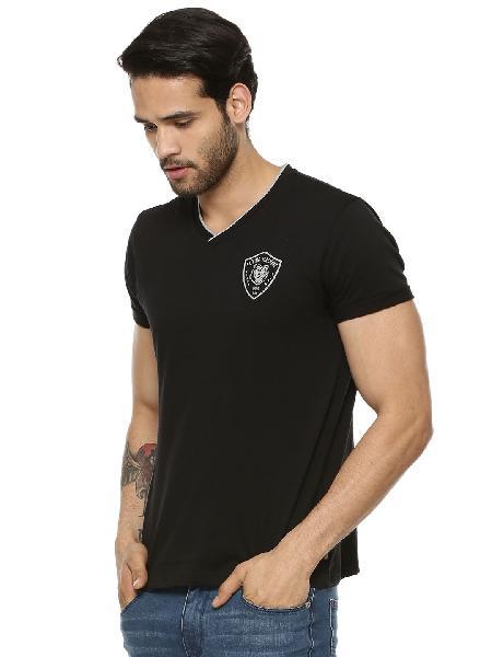 Mens Black V Neck T-shirt Chest Embroidered