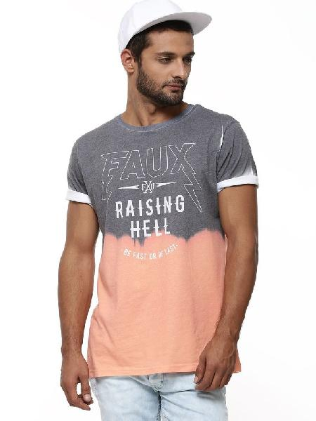 Mens T-shirts Round Neck Dip Dye