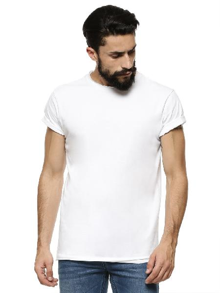 Mens White T-Shirt  Round Neck