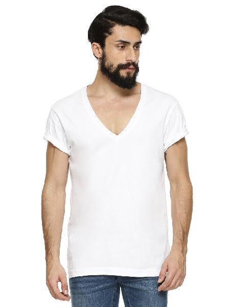 Mens White V Neck T-shirt