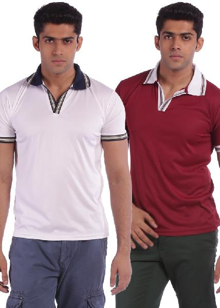 Mens T-shirts Collar Neck