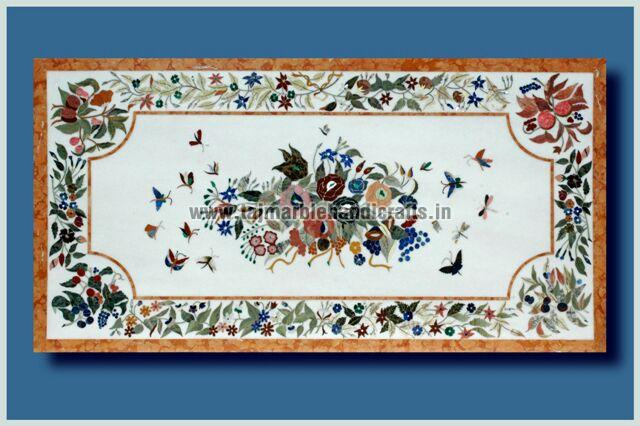 Marble Inlay Dining Table Top Manufacturer Supplier in Agra India