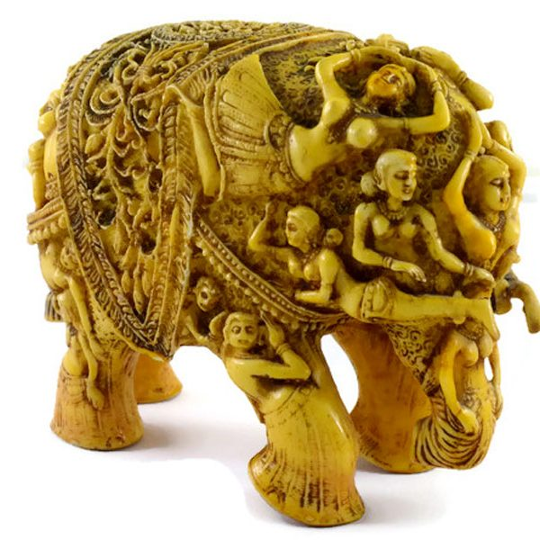SKU-EIIR0032 Handmade Antique Resin Elephant Statue 01
