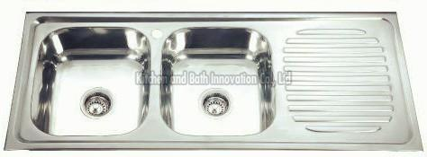 KBDB12050B Stainless Steel Two Bowl One Drain Sink