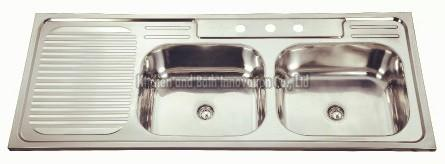 KBDB12050R Stainless Steel Two Bowl One Drain Sink