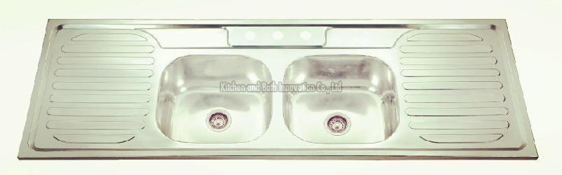 KBDB15050B Stainless Steel Two Bowl Two Drain Sink
