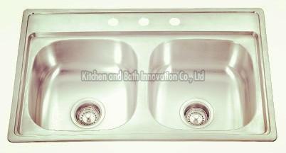 KBTD8050 Stainless Steel Topmount Double Bowl Sink
