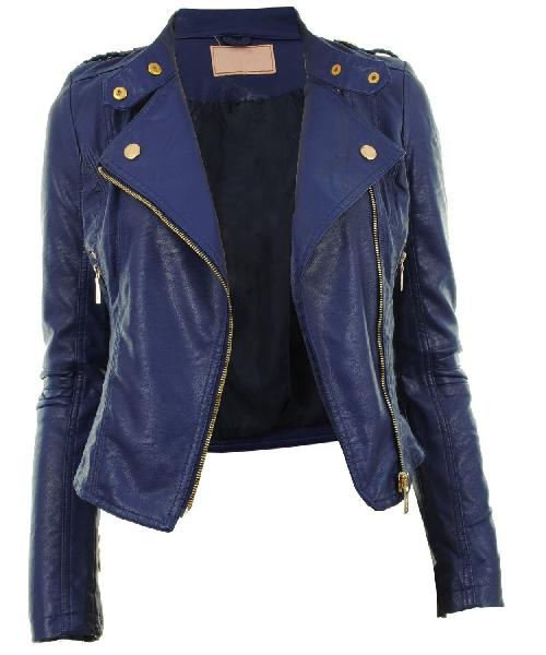 Ladies Light Blue Fashion Leather Jackets