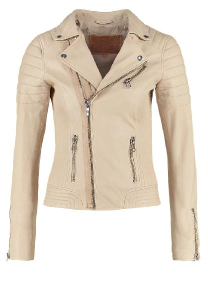 Ladies Plain Cream Fashion Leather Jackets