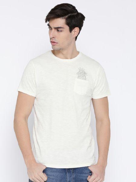 Men Off White Round Neck T-Shirts