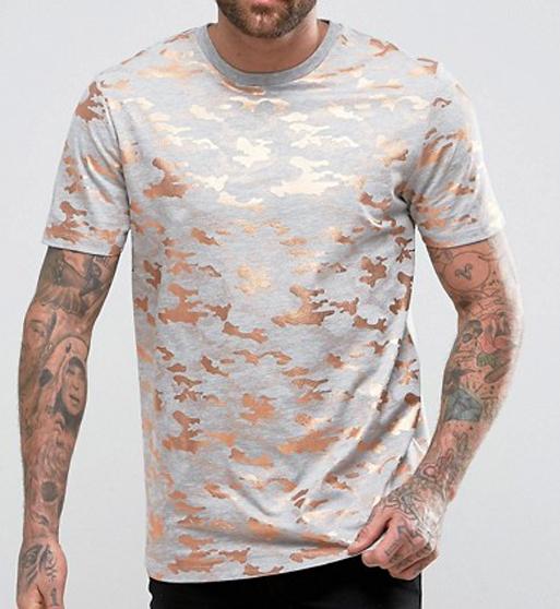 Mens Gloden Print Round Neck T-Shirts