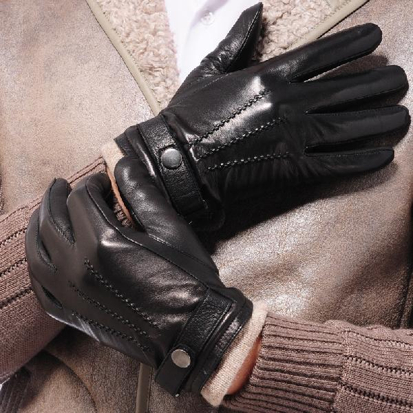 Mens Black Leather Fashion Gloves