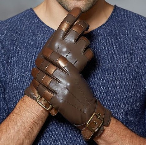 Mens Brown Leather Fashion Gloves