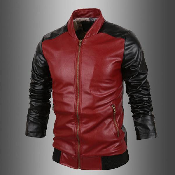 Mens Red & Black Leather Jackets