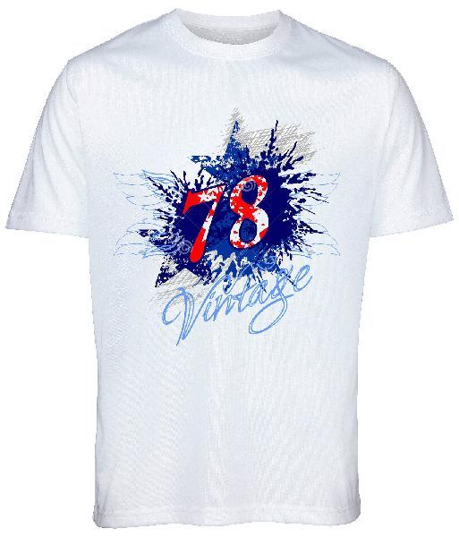 Mens White Printed Round Neck T-Shirts