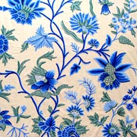 Blue Patels Crewel Curtain Fabric