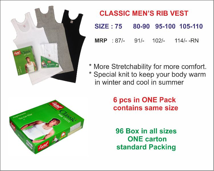 Mens Classic Rib Vest