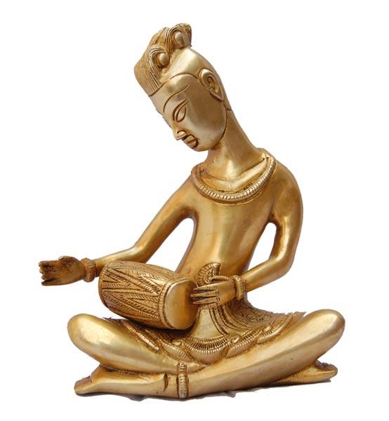 Brass Lady Musician Statue